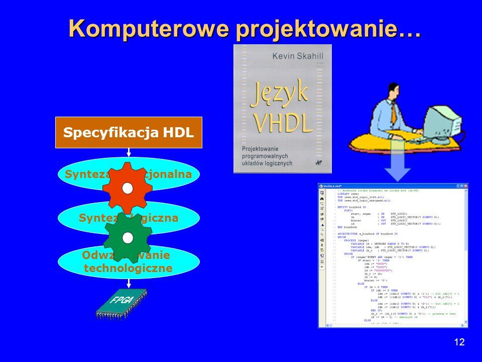 12 Specyfikacja HDL Synteza funkcjonalna Synteza logiczna Odwzorowanie technologiczne 12 Komputerowe projektowanie…