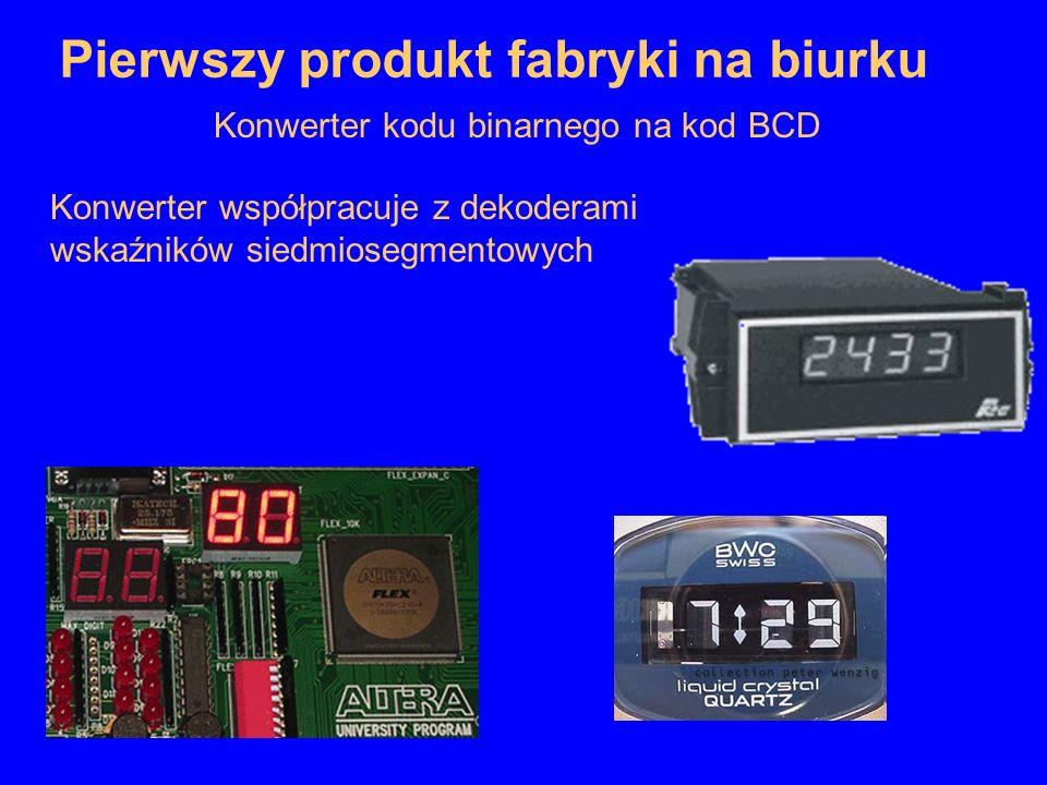 Konwerter współpracuje z dekoderami wskaźników siedmiosegmentowych Pierwszy produkt fabryki na biurku Konwerter kodu binarnego na kod BCD