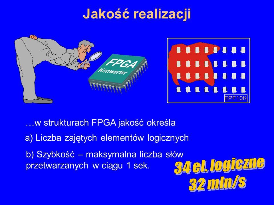Jakość realizacji 19 …w strukturach FPGA jakość określa a) Liczba zajętych elementów logicznych b) Szybkość – maksymalna liczba słów przetwarzanych w