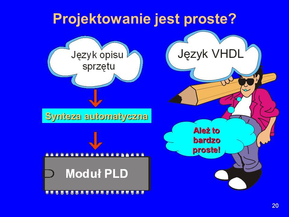 Projektowanie jest proste? Synteza automatyczna Ależ to bardzo proste! Język VHDL 20