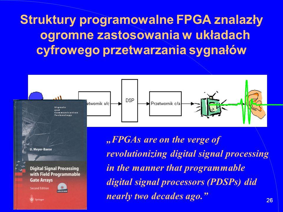 """26 Struktury programowalne FPGA znalazły ogromne zastosowania w układach cyfrowego przetwarzania sygnałów """"FPGAs are on the verge of revolutionizing d"""