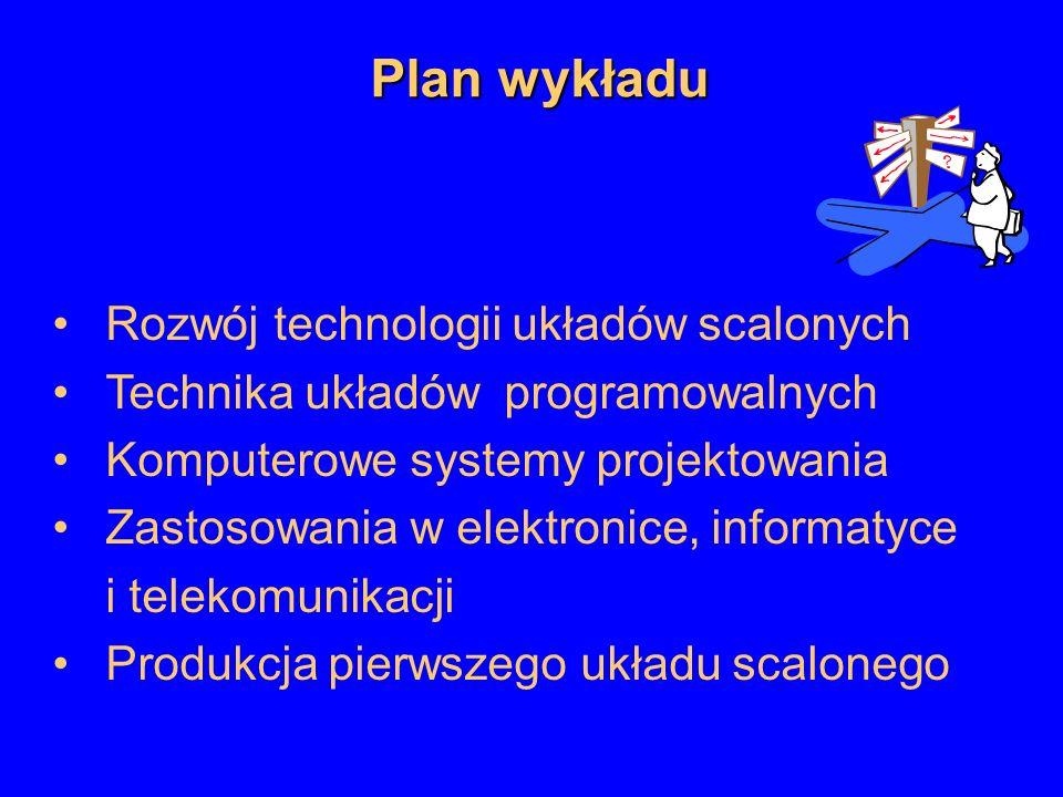 Rozwój technologii układów scalonych Technika układów programowalnych Komputerowe systemy projektowania Zastosowania w elektronice, informatyce i tele