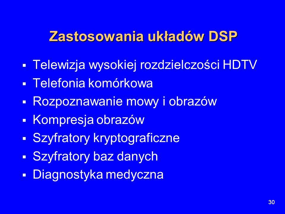 30 Zastosowania układów DSP  Telewizja wysokiej rozdzielczości HDTV  Telefonia komórkowa  Rozpoznawanie mowy i obrazów  Kompresja obrazów  Szyfra