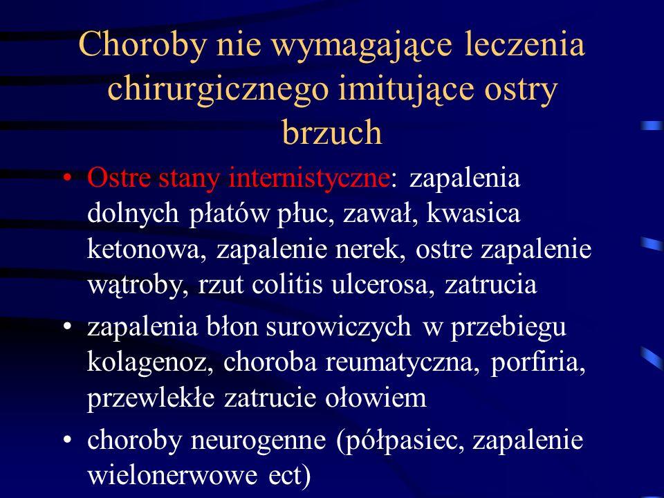 Choroby nie wymagające leczenia chirurgicznego imitujące ostry brzuch Ostre stany internistyczne: zapalenia dolnych płatów płuc, zawał, kwasica ketonowa, zapalenie nerek, ostre zapalenie wątroby, rzut colitis ulcerosa, zatrucia zapalenia błon surowiczych w przebiegu kolagenoz, choroba reumatyczna, porfiria, przewlekłe zatrucie ołowiem choroby neurogenne (półpasiec, zapalenie wielonerwowe ect)