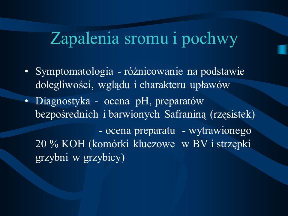 Zapalenia sromu i pochwy Symptomatologia - różnicowanie na podstawie dolegliwości, wglądu i charakteru upławów Diagnostyka - ocena pH, preparatów bezp