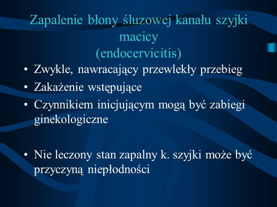 Zapalenie błony śluzowej kanału szyjki macicy (endocervicitis) Zwykle, nawracający przewlekły przebieg Zakażenie wstępujące Czynnikiem inicjującym mog