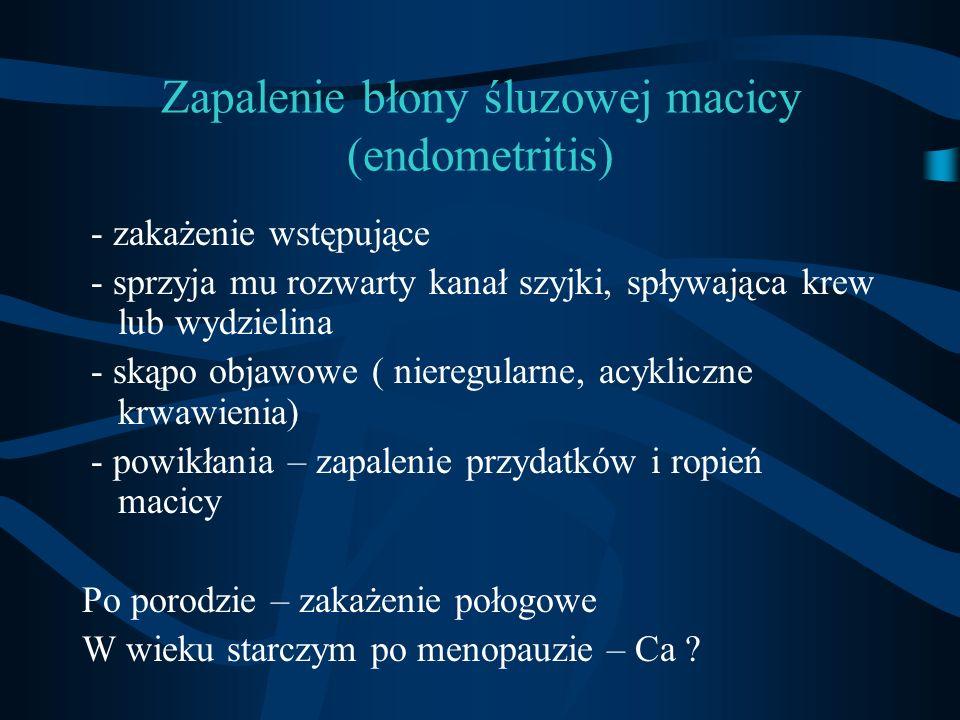 Zapalenie błony śluzowej macicy (endometritis) - zakażenie wstępujące - sprzyja mu rozwarty kanał szyjki, spływająca krew lub wydzielina - skąpo objaw