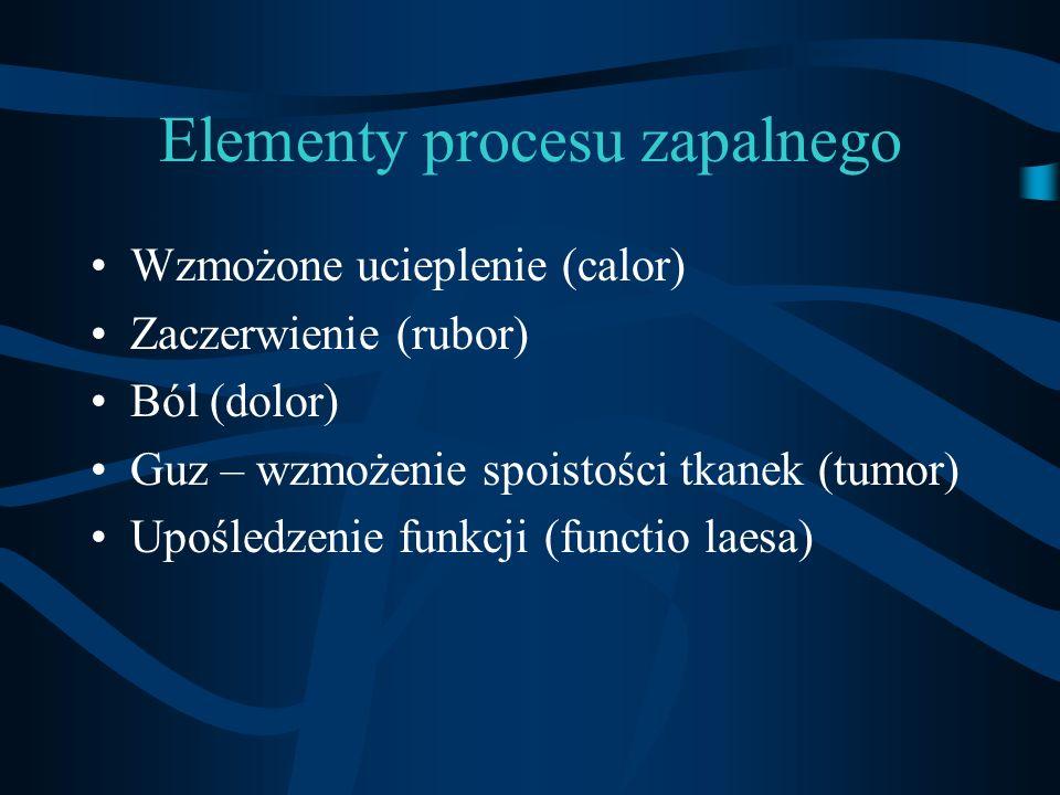 Klasyfikacja zapaleń PROCES OSTRY -reakcja ogólnoustrojowa -na poziomie tkankowym nasilona reakcja naczyniowa - w surowicy krwi -białka ostrej fazy, leukocytoza -obniżona odporność na inne czynniki biologiczne PROCES PRZEWLEKŁY -słabo wyrażona reakcja ogólnoustrojowa -na poziomie tkankowym nasilona proliferacja, włóknienie, destrukcja -w surowicy krwi komórki jednojądrzaste (monocyty, limfocyty) -inicjowanie procesów autoimmunologicznych