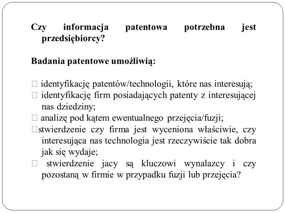Czy informacja patentowa potrzebna jest przedsiębiorcy.