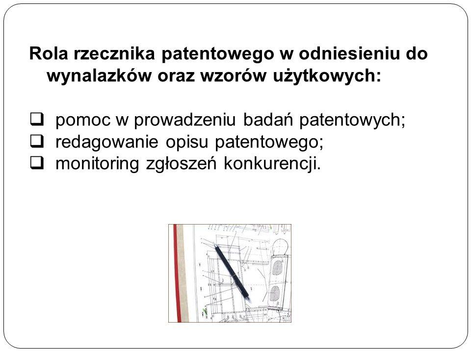 Rola rzecznika patentowego w odniesieniu do wynalazków oraz wzorów użytkowych:  pomoc w prowadzeniu badań patentowych;  redagowanie opisu patentowego;  monitoring zgłoszeń konkurencji.