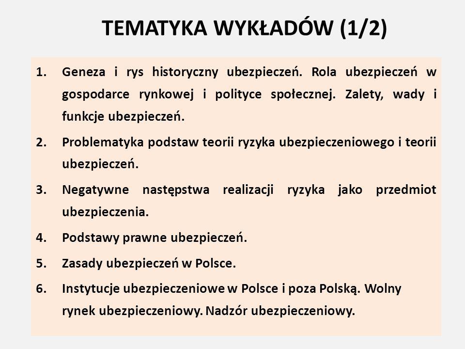 TEMATYKA WYKŁADÓW (2/2) 7.