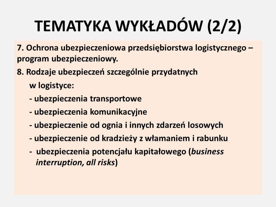 TEMATYKA WYKŁADÓW (2/2) 7. Ochrona ubezpieczeniowa przedsiębiorstwa logistycznego – program ubezpieczeniowy. 8. Rodzaje ubezpieczeń szczególnie przyda