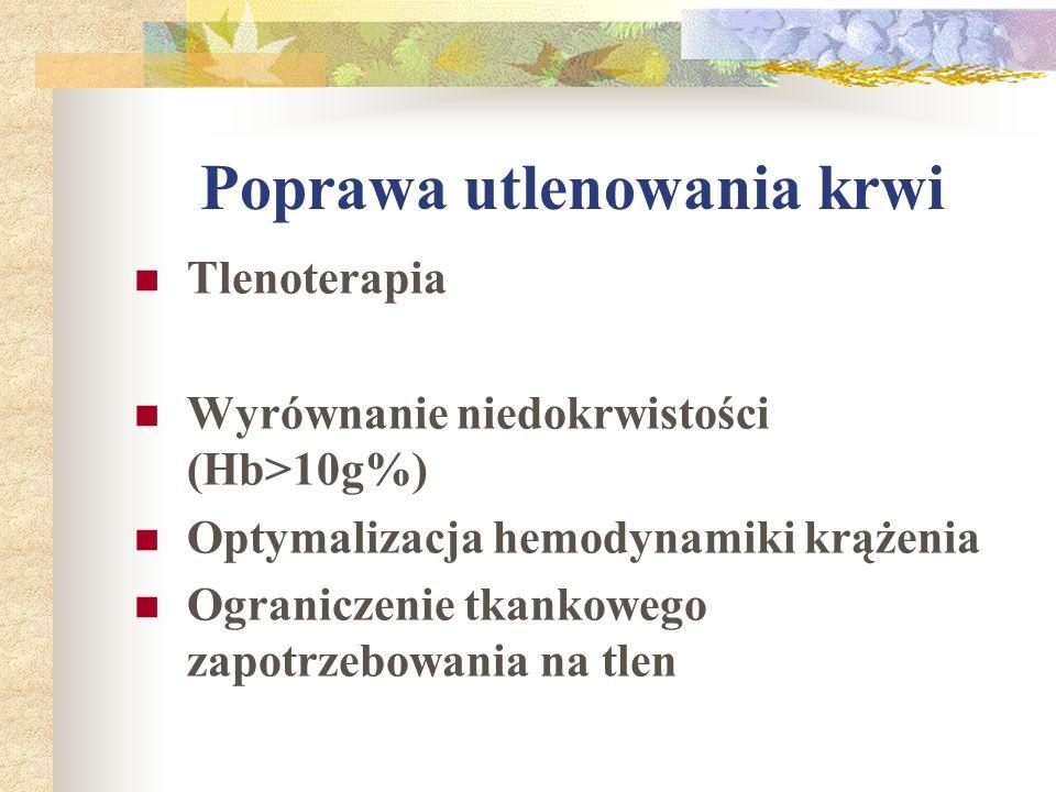 Poprawa utlenowania krwi Tlenoterapia Wyrównanie niedokrwistości (Hb>10g%) Optymalizacja hemodynamiki krążenia Ograniczenie tkankowego zapotrzebowania