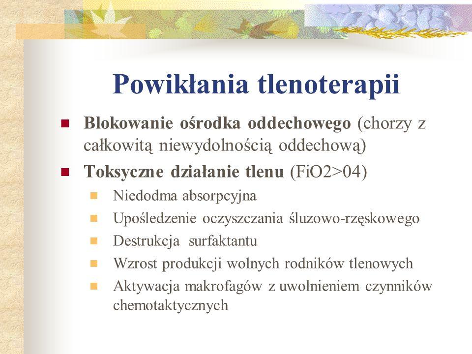 Powikłania tlenoterapii Blokowanie ośrodka oddechowego (chorzy z całkowitą niewydolnością oddechową) Toksyczne działanie tlenu (FiO2>04) Niedodma abso