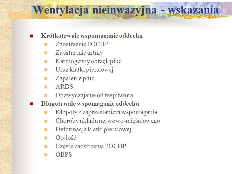 Wentylacja nieinwazyjna - wskazania Krótkotrwałe wspomaganie oddechu Zaostrzenie POCHP Zaostrzenie astmy Kardiogenny obrzęk płuc Uraz klatki piersiowe