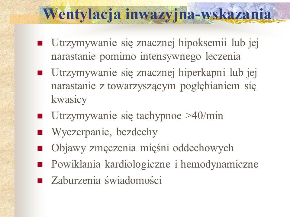 Wentylacja inwazyjna-wskazania Utrzymywanie się znacznej hipoksemii lub jej narastanie pomimo intensywnego leczenia Utrzymywanie się znacznej hiperkap