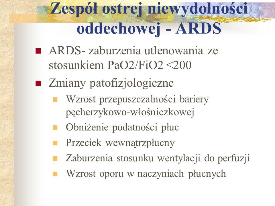 Zespół ostrej niewydolności oddechowej - ARDS ARDS- zaburzenia utlenowania ze stosunkiem PaO2/FiO2 <200 Zmiany patofizjologiczne Wzrost przepuszczalno
