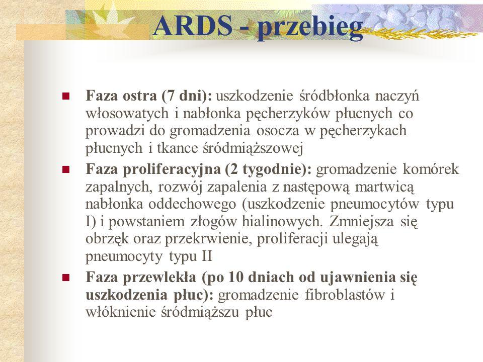 ARDS - przebieg Faza ostra (7 dni): uszkodzenie śródbłonka naczyń włosowatych i nabłonka pęcherzyków płucnych co prowadzi do gromadzenia osocza w pęch