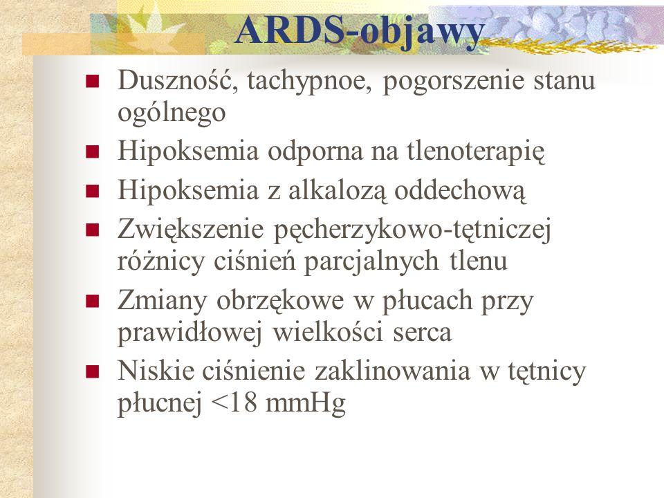 ARDS-objawy Duszność, tachypnoe, pogorszenie stanu ogólnego Hipoksemia odporna na tlenoterapię Hipoksemia z alkalozą oddechową Zwiększenie pęcherzykow