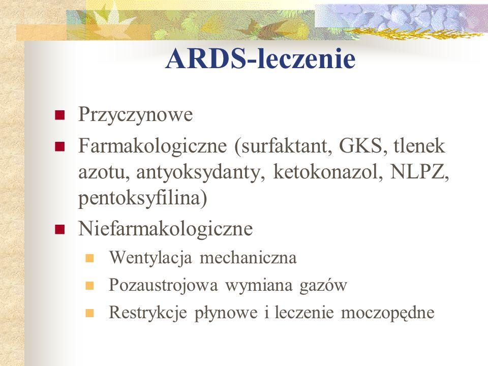 ARDS-leczenie Przyczynowe Farmakologiczne (surfaktant, GKS, tlenek azotu, antyoksydanty, ketokonazol, NLPZ, pentoksyfilina) Niefarmakologiczne Wentyla