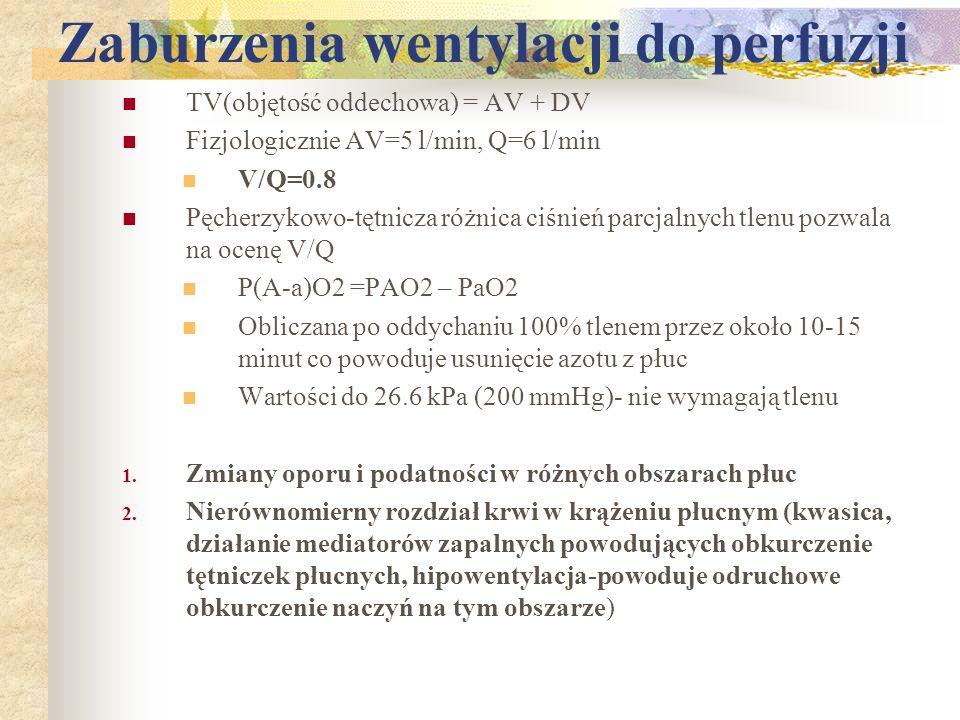 Zaburzenia wentylacji do perfuzji TV(objętość oddechowa) = AV + DV Fizjologicznie AV=5 l/min, Q=6 l/min V/Q=0.8 Pęcherzykowo-tętnicza różnica ciśnień