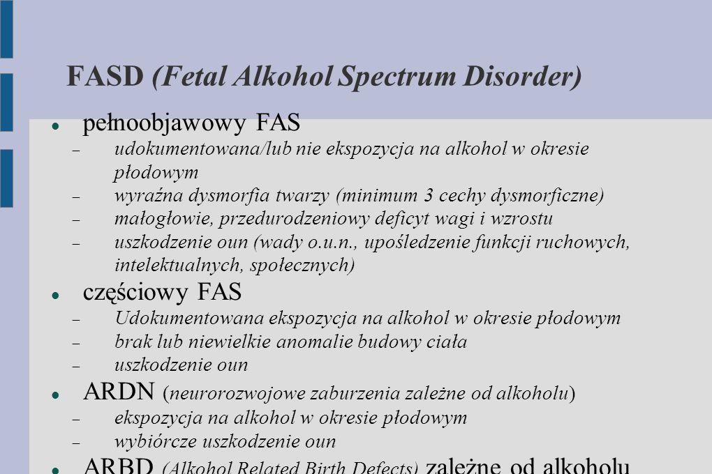 FASD (Fetal Alkohol Spectrum Disorder) pełnoobjawowy FAS  udokumentowana/lub nie ekspozycja na alkohol w okresie płodowym  wyraźna dysmorfia twarzy