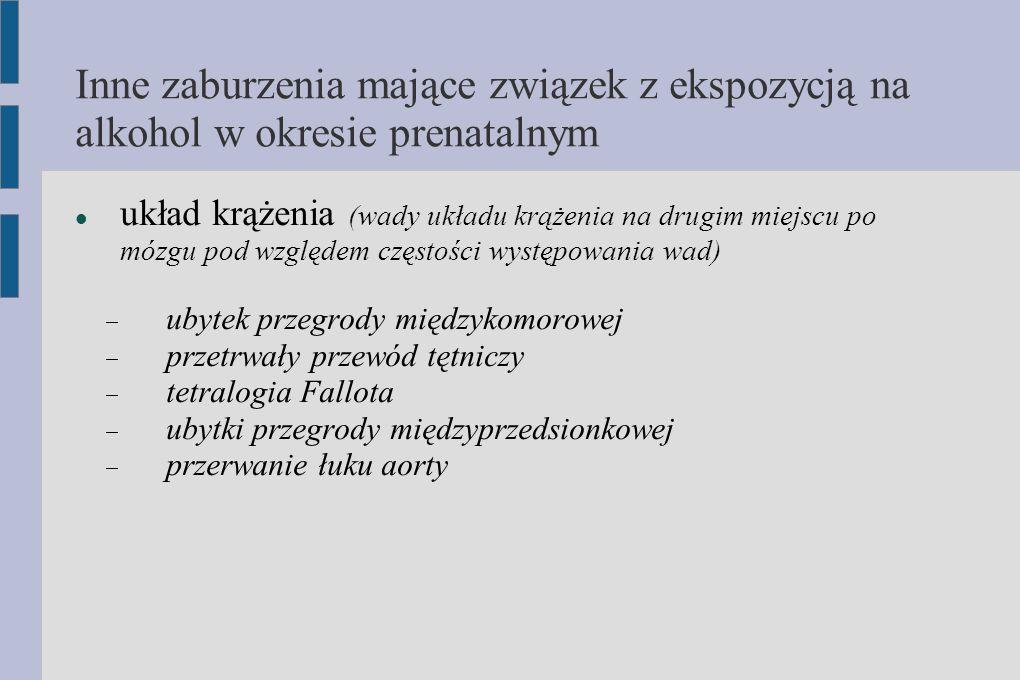 Inne zaburzenia mające związek z ekspozycją na alkohol w okresie prenatalnym układ krążenia (wady układu krążenia na drugim miejscu po mózgu pod wzglę