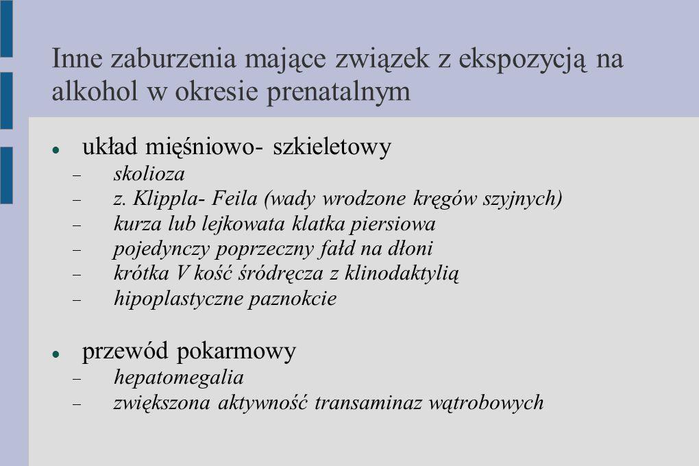 Inne zaburzenia mające związek z ekspozycją na alkohol w okresie prenatalnym układ mięśniowo- szkieletowy  skolioza  z. Klippla- Feila (wady wrodzon