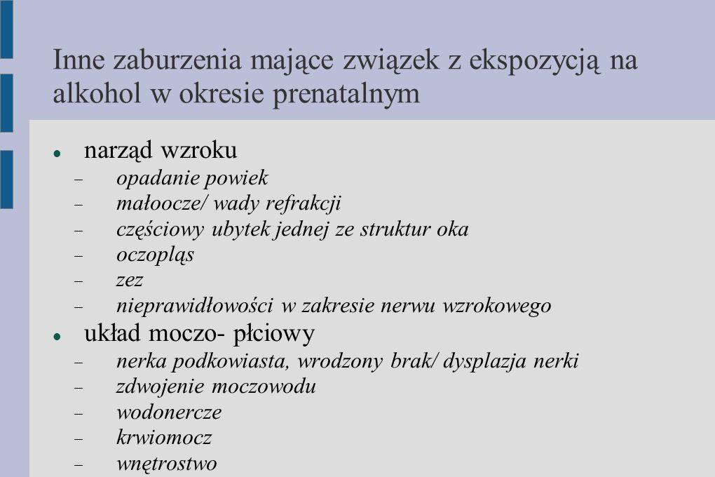 Inne zaburzenia mające związek z ekspozycją na alkohol w okresie prenatalnym narząd wzroku  opadanie powiek  małoocze/ wady refrakcji  częściowy ub