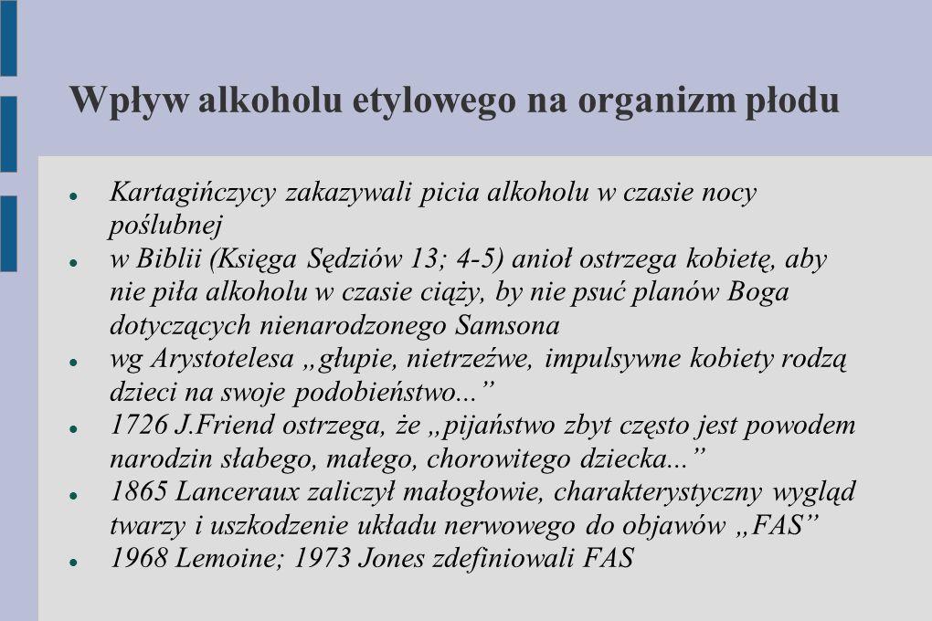 Wpływ alkoholu etylowego na organizm płodu Kartagińczycy zakazywali picia alkoholu w czasie nocy poślubnej w Biblii (Księga Sędziów 13; 4-5) anioł ost