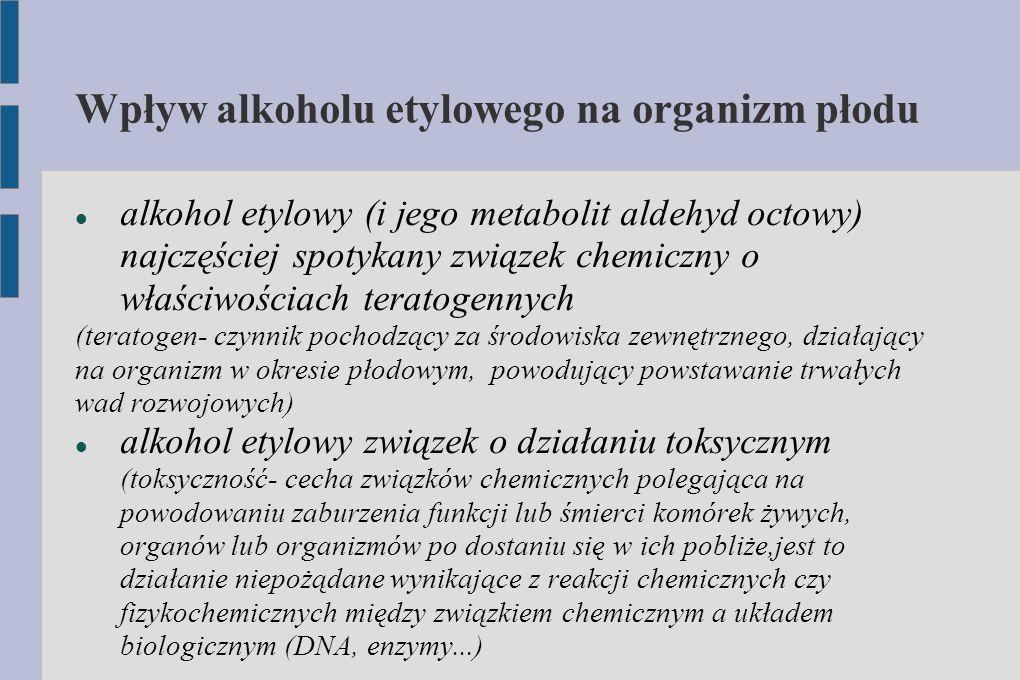 Wpływ alkoholu etylowego na organizm płodu alkohol etylowy (i jego metabolit aldehyd octowy) najczęściej spotykany związek chemiczny o właściwościach