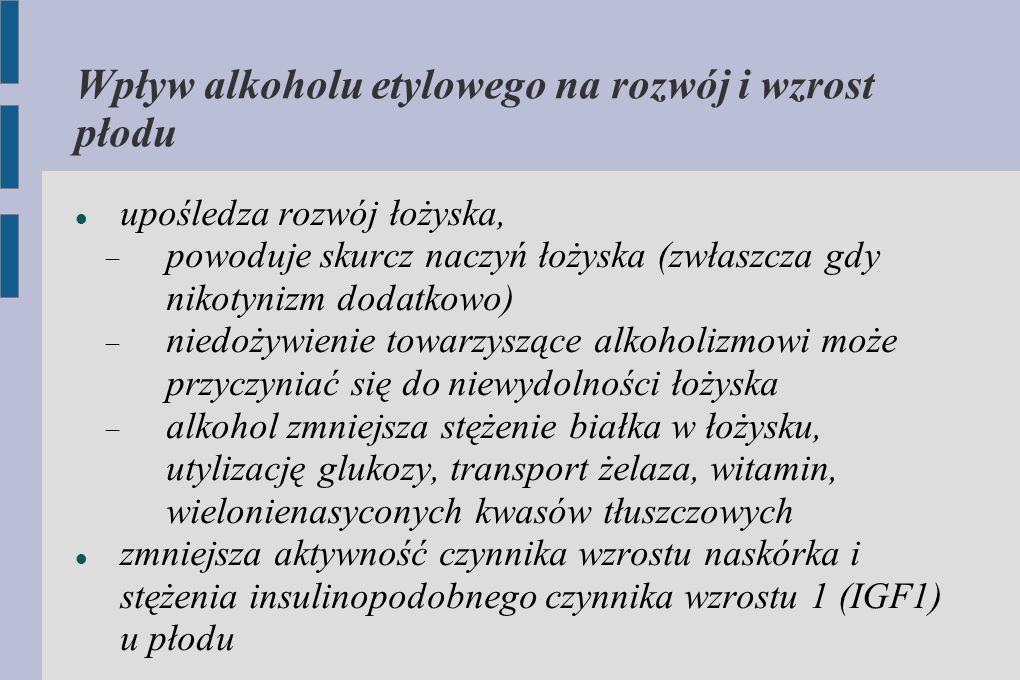Wpływ alkoholu etylowego na rozwój i wzrost płodu upośledza rozwój łożyska,  powoduje skurcz naczyń łożyska (zwłaszcza gdy nikotynizm dodatkowo)  ni