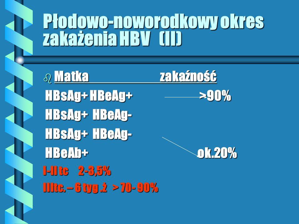 Płodowo-noworodkowy okres zakażenia HBV (II) b Matka zakaźność HBsAg+ HBeAg+ >90% HBsAg+ HBeAg+ >90% HBsAg+ HBeAg- HBsAg+ HBeAg- HBeAb+ ok.20% HBeAb+ ok.20% I-II tc 2-3,5% IIItc.