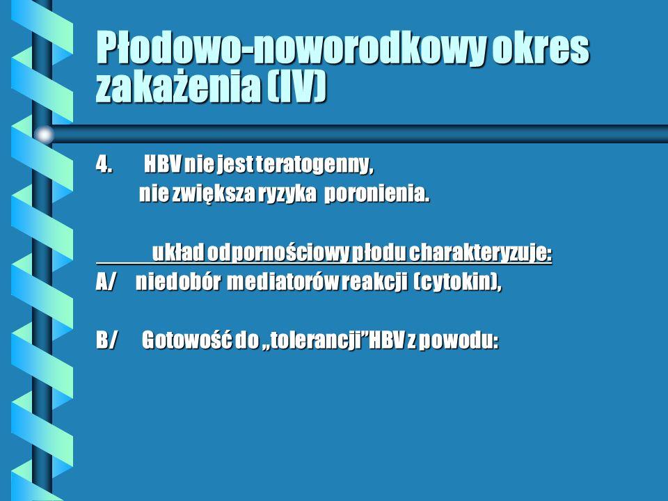 Płodowo-noworodkowy okres zakażenia(V) 1/ niedoboru limfocytów Th nad Ts 2/ słabej ekspresji na komórkach antygenów MHC klasy I antygenów MHC klasy I 3/ niedoboru enzymów lizosomalnych w makrofagach (=krążenie antygen makrofagach (=krążenie antygen ( w zakażeniuHBV- wysoka wiremia .