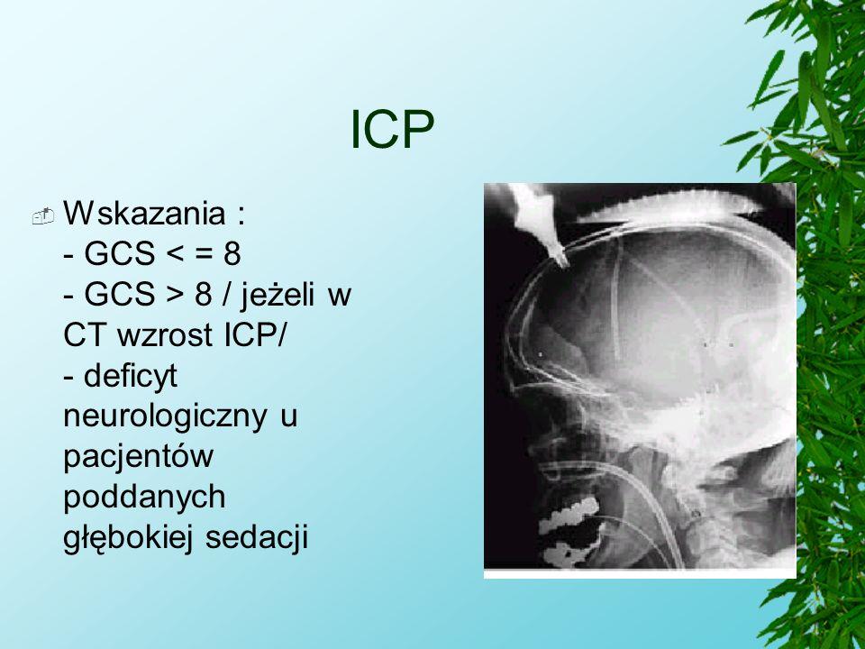 ICP  Wskazania : - GCS 8 / jeżeli w CT wzrost ICP/ - deficyt neurologiczny u pacjentów poddanych głębokiej sedacji