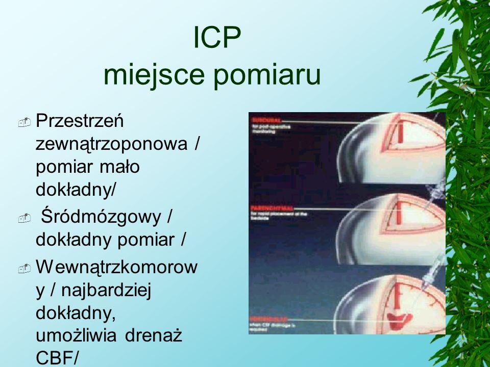ICP miejsce pomiaru  Przestrzeń zewnątrzoponowa / pomiar mało dokładny/  Śródmózgowy / dokładny pomiar /  Wewnątrzkomorow y / najbardziej dokładny,
