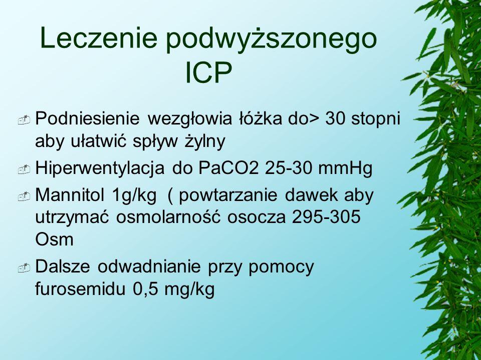Leczenie podwyższonego ICP  Podniesienie wezgłowia łóżka do> 30 stopni aby ułatwić spływ żylny  Hiperwentylacja do PaCO2 25-30 mmHg  Mannitol 1g/kg