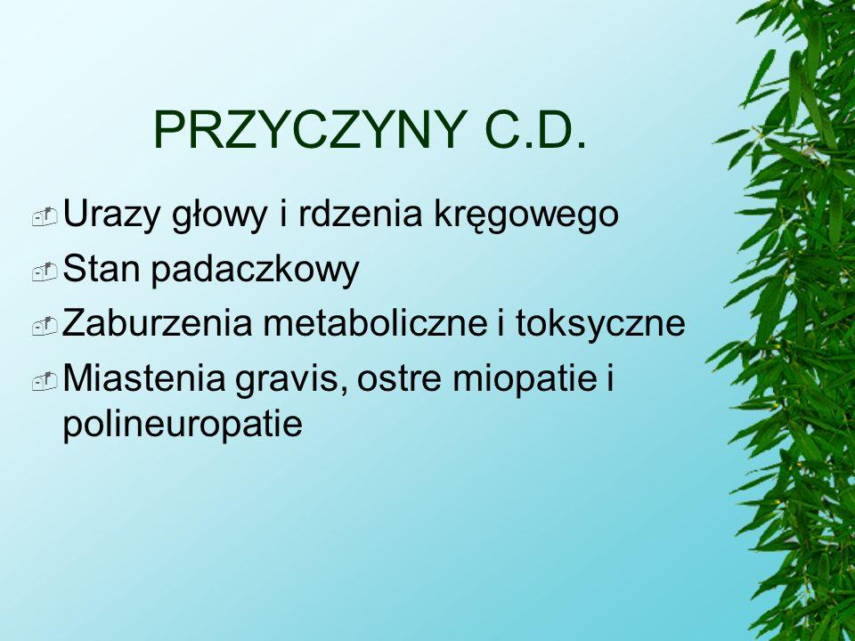 PRZYCZYNY C.D.  Urazy głowy i rdzenia kręgowego  Stan padaczkowy  Zaburzenia metaboliczne i toksyczne  Miastenia gravis, ostre miopatie i polineur