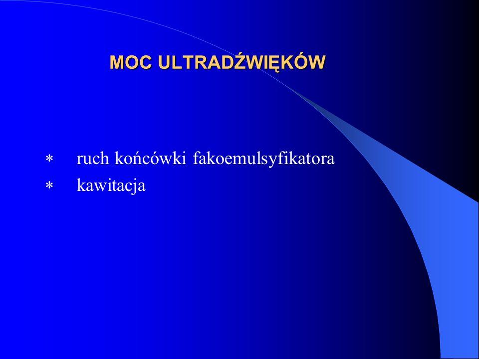 MOC ULTRADŹWIĘKÓW  ruch końcówki fakoemulsyfikatora  kawitacja