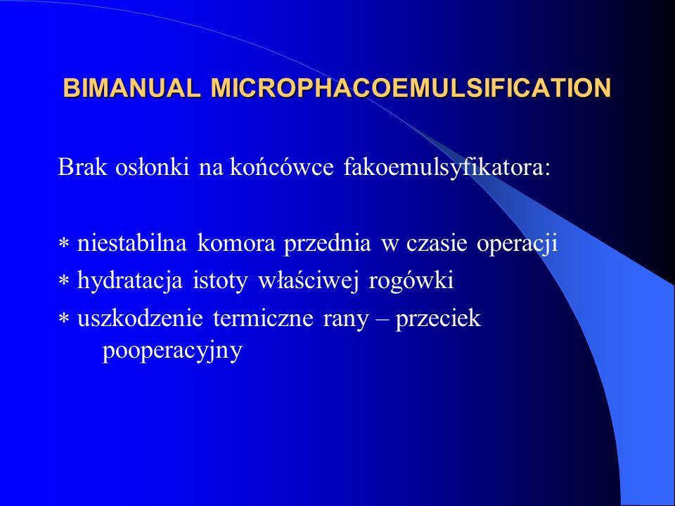 BIMANUAL MICROPHACOEMULSIFICATION Brak osłonki na końcówce fakoemulsyfikatora:  niestabilna komora przednia w czasie operacji  hydratacja istoty właściwej rogówki  uszkodzenie termiczne rany – przeciek pooperacyjny