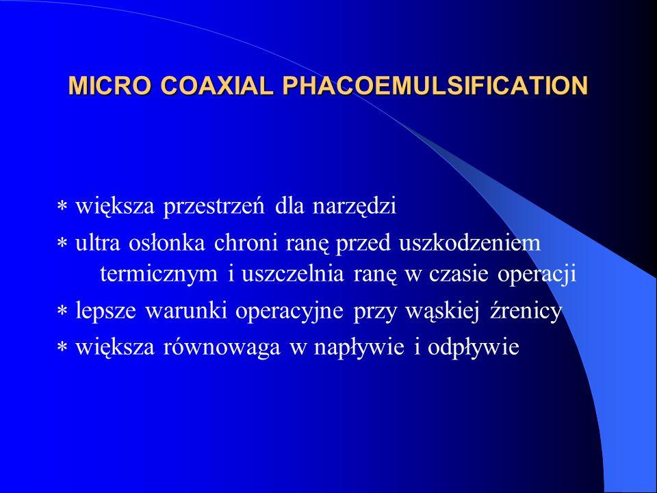 MICRO COAXIAL PHACOEMULSIFICATION  większa przestrzeń dla narzędzi  ultra osłonka chroni ranę przed uszkodzeniem termicznym i uszczelnia ranę w czasie operacji  lepsze warunki operacyjne przy wąskiej źrenicy  większa równowaga w napływie i odpływie