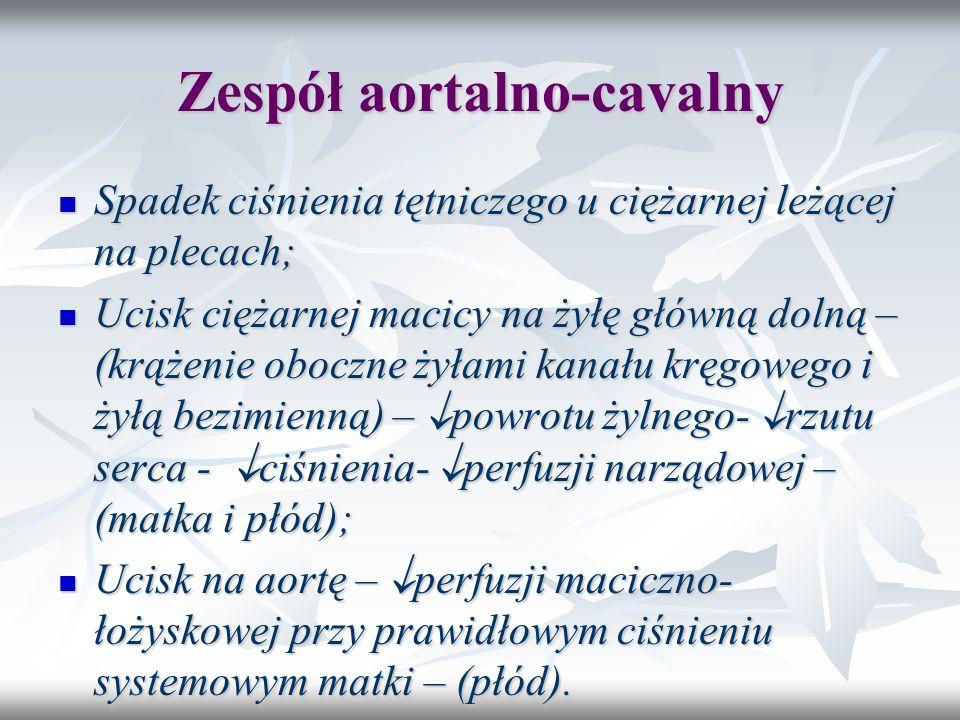 Zespół aortalno-cavalny Spadek ciśnienia tętniczego u ciężarnej leżącej na plecach; Spadek ciśnienia tętniczego u ciężarnej leżącej na plecach; Ucisk