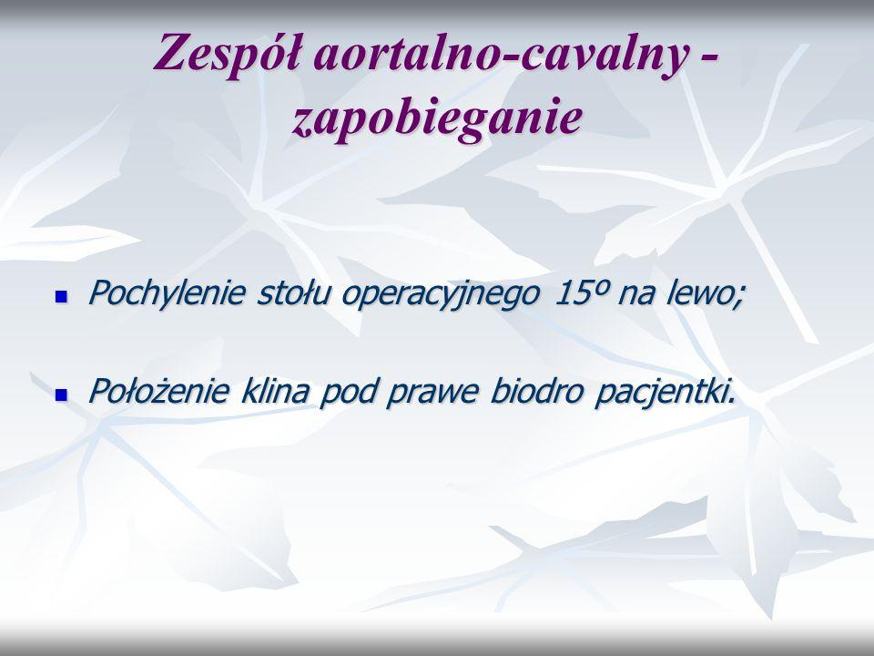 Zespół aortalno-cavalny - zapobieganie Pochylenie stołu operacyjnego 15º na lewo; Pochylenie stołu operacyjnego 15º na lewo; Położenie klina pod prawe