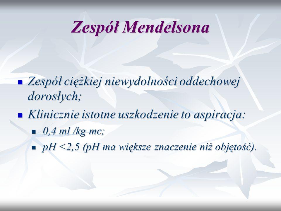 Zespół Mendelsona Zespół ciężkiej niewydolności oddechowej dorosłych; Zespół ciężkiej niewydolności oddechowej dorosłych; Klinicznie istotne uszkodzen