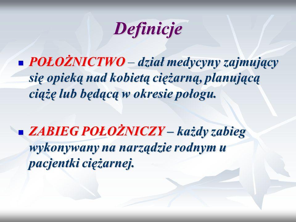 Definicje POŁOŻNICTWO – dział medycyny zajmujący się opieką nad kobietą ciężarną, planującą ciążę lub będącą w okresie połogu. POŁOŻNICTWO – dział med