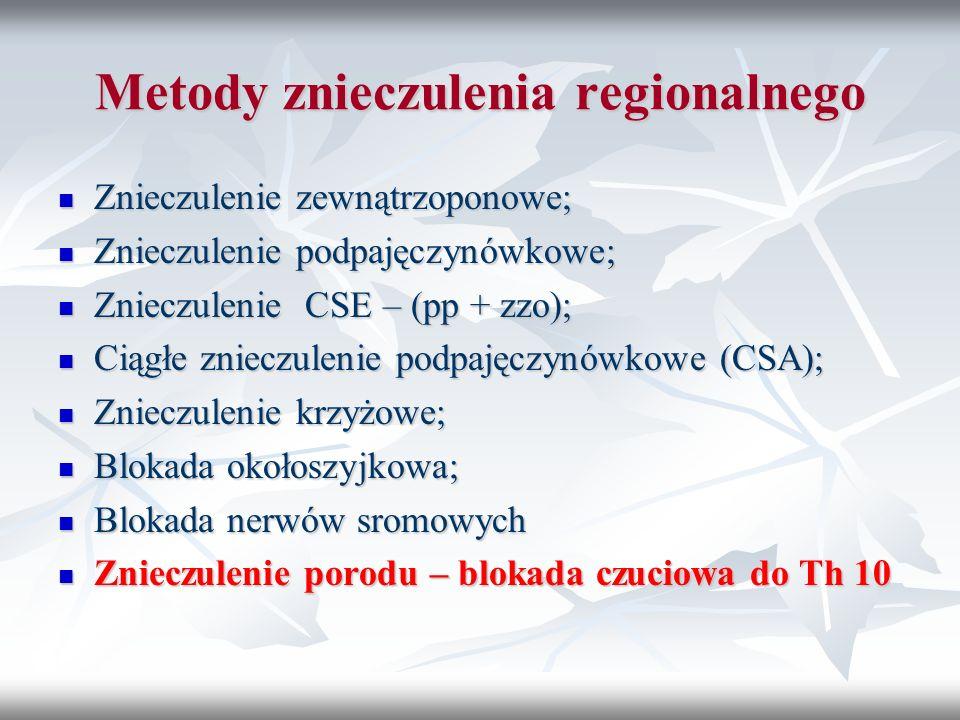 Metody znieczulenia regionalnego Znieczulenie zewnątrzoponowe; Znieczulenie zewnątrzoponowe; Znieczulenie podpajęczynówkowe; Znieczulenie podpajęczynó