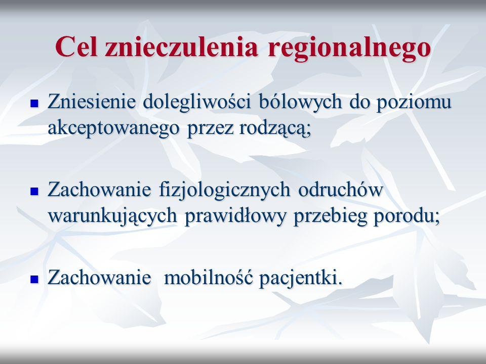 Cel znieczulenia regionalnego Zniesienie dolegliwości bólowych do poziomu akceptowanego przez rodzącą; Zniesienie dolegliwości bólowych do poziomu akc