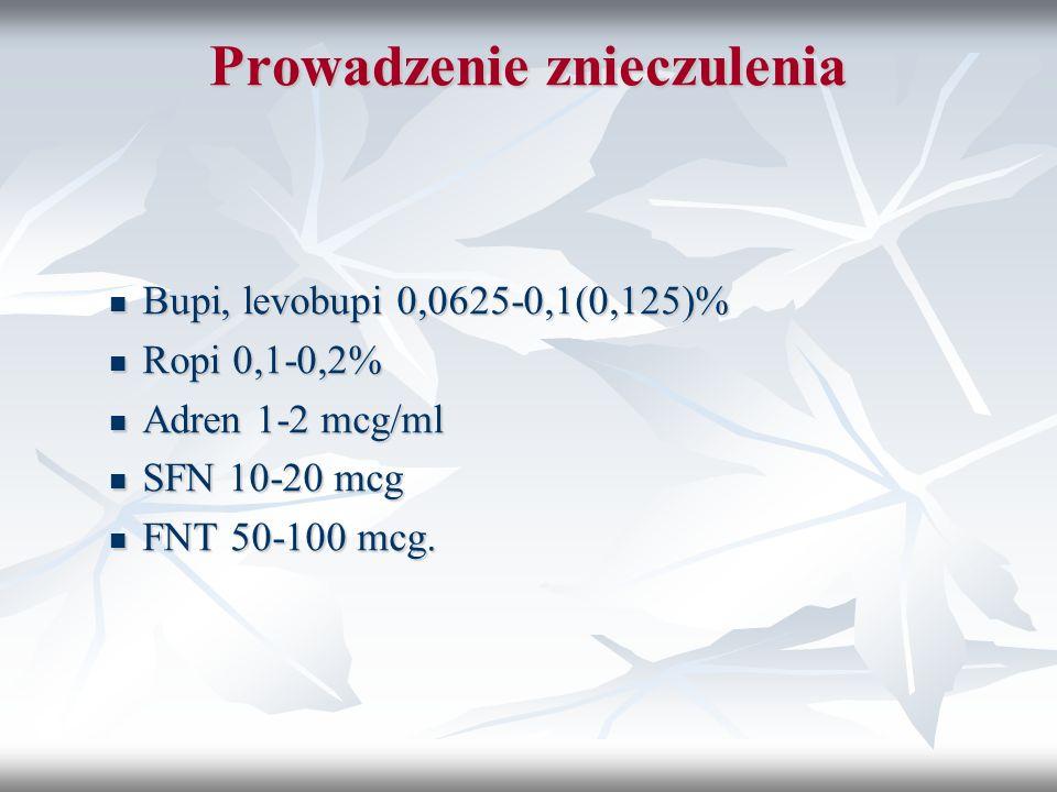 Prowadzenie znieczulenia Bupi, levobupi 0,0625-0,1(0,125)% Bupi, levobupi 0,0625-0,1(0,125)% Ropi 0,1-0,2% Ropi 0,1-0,2% Adren 1-2 mcg/ml Adren 1-2 mc