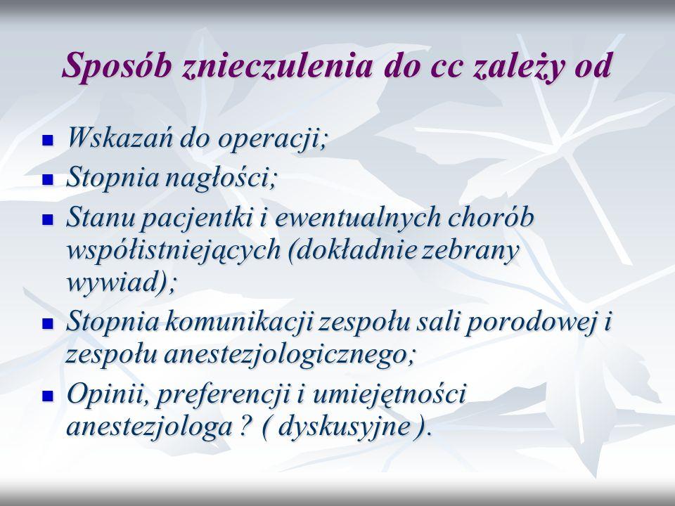 Sposób znieczulenia do cc zależy od Wskazań do operacji; Wskazań do operacji; Stopnia nagłości; Stopnia nagłości; Stanu pacjentki i ewentualnych choró