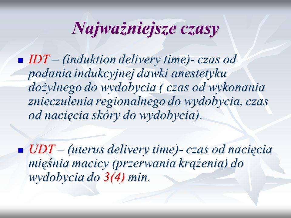 Najważniejsze czasy IDT – (induktion delivery time)- czas od podania indukcyjnej dawki anestetyku dożylnego do wydobycia ( czas od wykonania znieczule